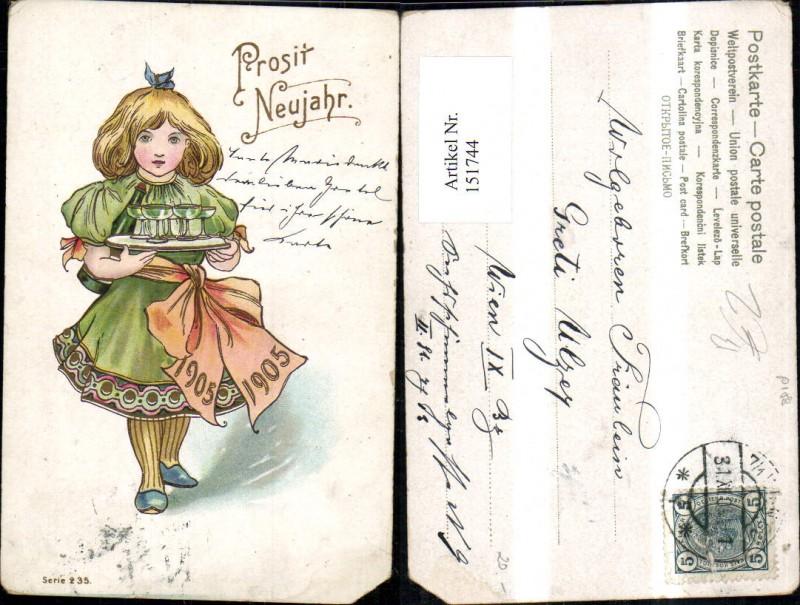 151744,Neujahr Mädchen m. Tablett m. Sektgläser Gläser Schleife 1905
