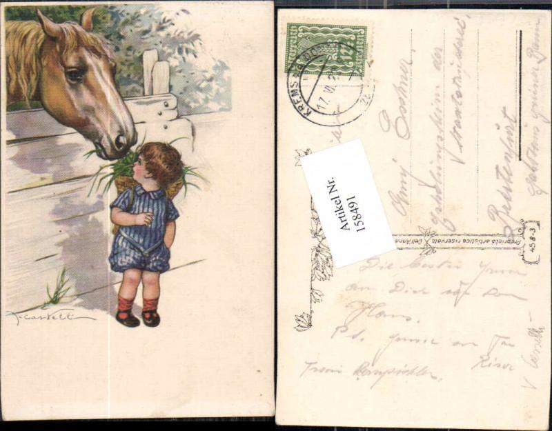 158491,Kind m. Futterkorb Pferd V. Castelli oder Casselli