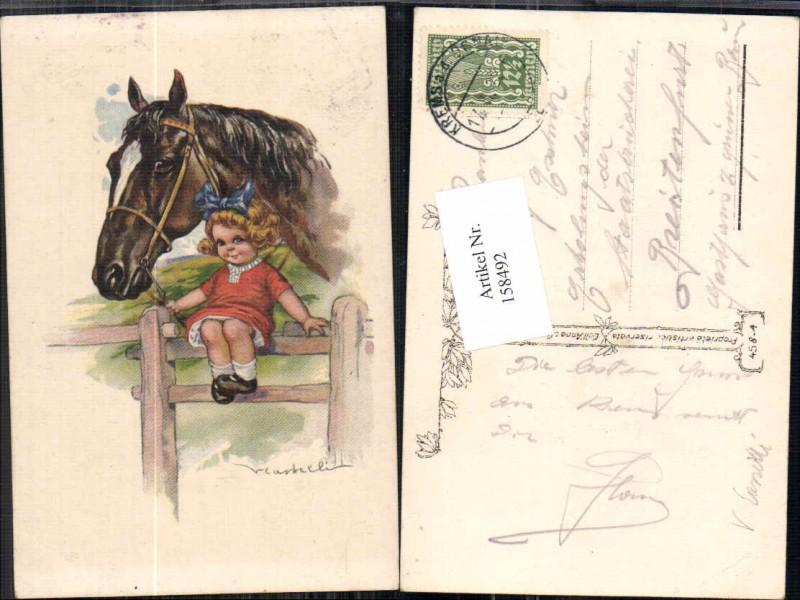 158492,süsses Mädchen m. Pferd V. Castelli oder Casselli