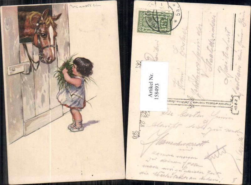 158493,Süsses Mädchen mit Pferd bringt Futter V. Castelli oder Casselli