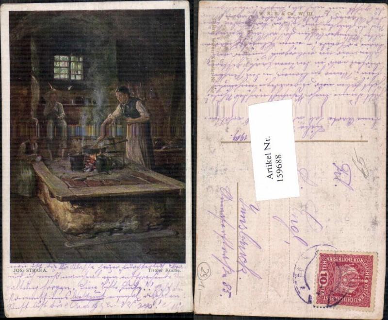 159688,Josef Straka Tiroler Küche Tirol Bäuerinn am Herd