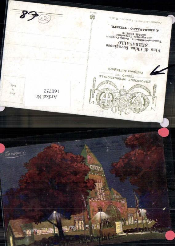 160752,Künstlerkarte Guerzoni Vino di Chidino di China Serravallo Esposizione Intern. Torino 1911 Padiglione dell Unger