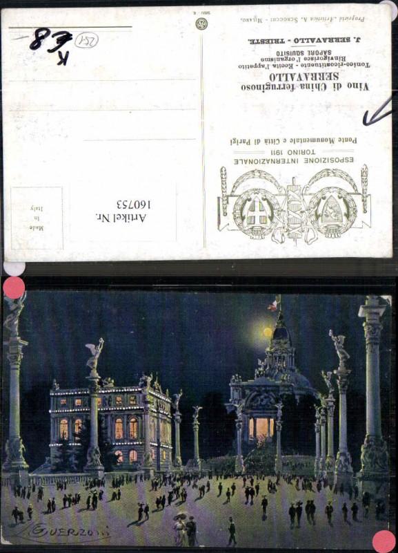 160753,Künstlerkarte Guerzoni Ponte Citta di Parigi Serravallo Esposizione Intern. Torino 1911