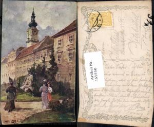 161550,Fritz Lach Linz a.d. Donau Promenade Frauen m. Hut B.K.W.I 403-5