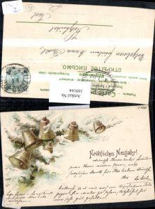 169164,Neujahr Schnee Tannenzweige Glocken
