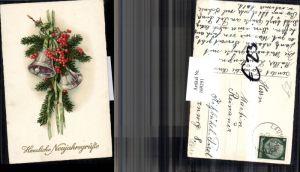 169291,Neujahr Tannenzweige Glocken Schleife Beeren