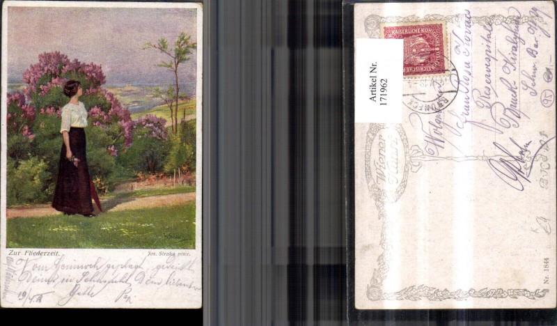 171962,Künstler Ak Zur Fliederzeit Frau Fliederstrauch sign Jos. Straka