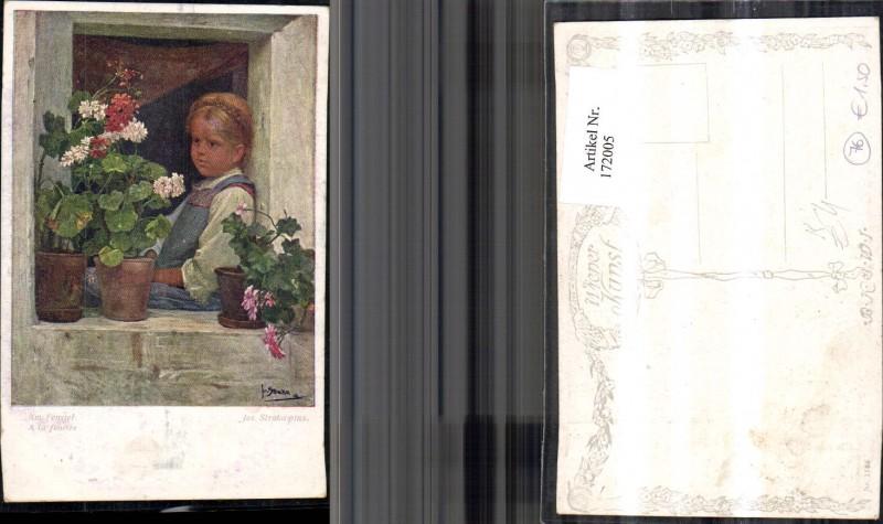 172005,Künstler Ak Jos. Straka pinx. Am Fenster Kind am Fenster Blumen