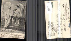 172013,Künstler Ak Hüte dich er sticht Frau mit Hut und Schirm Mann mit Anzug Hut und Stock