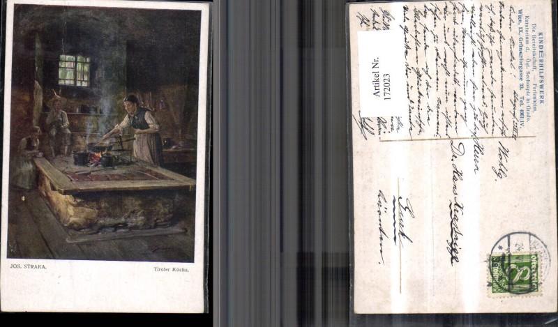 172023,Künstler Ak Jos. Straka Tiroler Küche Frau beim Kochen
