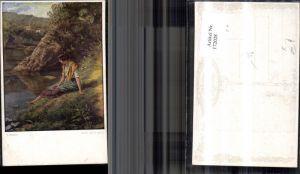 172028,Künstler Ak Karl Zewy gem. Libellen Frau sitzt am Ufer