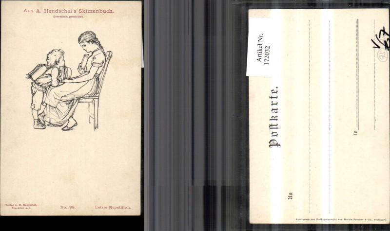 172032,Künstler Ak Letzte Repetition Frau mit Kind pub M. Hendschel 98