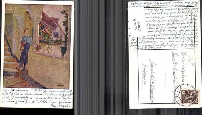 172049,Künstler Ak Josef Straka Frau Stiege