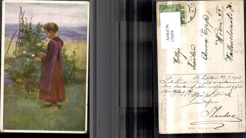 172054,Künstler Ak Josef Straka pinx. Kind mit Kleid Landschaft Blumen