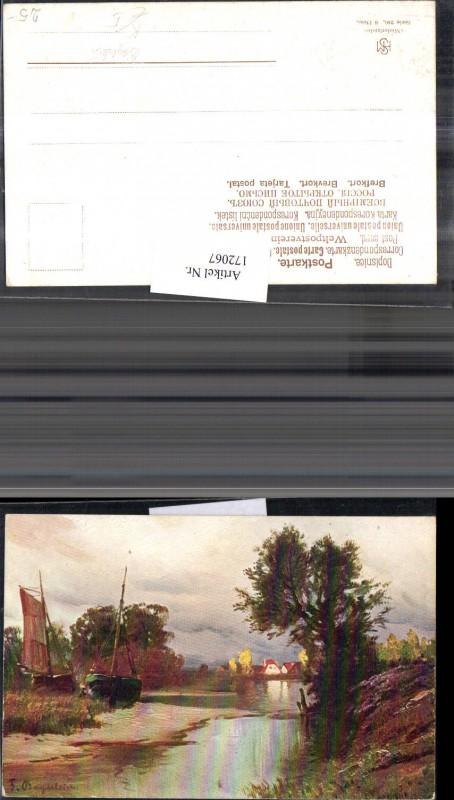 172067,Künstler Ak Bayerlein Boot Landschaft Fluss