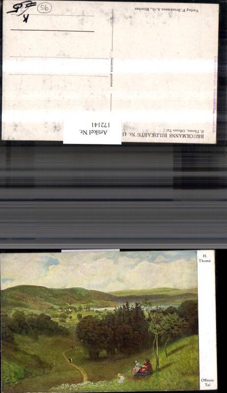 172141,Künstler Ak H. Thoma Offenes Tal Landschaft