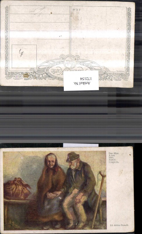 172154,Künstler Ak Ed. Adrian Dussek Das Alter alter Mann und Frau