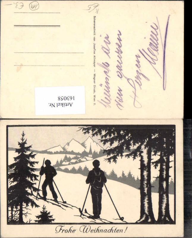 163058,Künstler AK Josefine Allmayer Scherenschnitt Silhouette Langläufer Ski