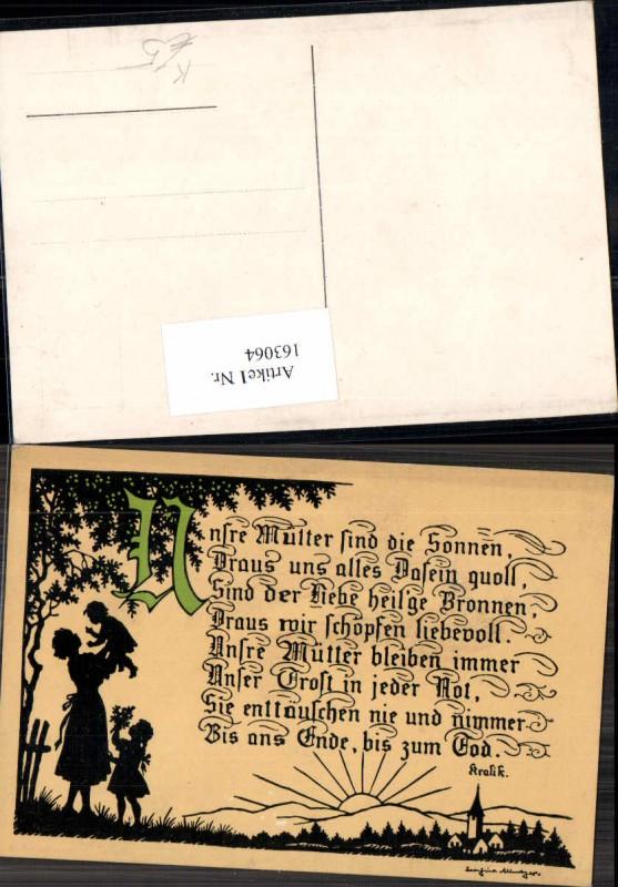 163064,Künstler AK Josefine Allmayer Scherenschnitt Silhouette Spruch Mutter
