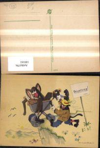 184161,Scherz Humor Katzen a. Privatweg m. Kinderwagen Künstler Ak Klapai