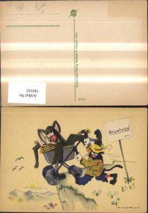 184162,Scherz Humor Katzen a. Privatweg m. Kinderwagen Künstler Ak Klapai