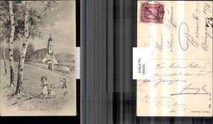 184656,Ostern Kinder Palmzweige Weg Kirche Landschaft pub HWB 1014