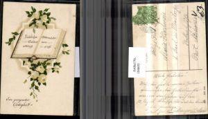 184693,Ostern Präge AK Buch weiße Rosen pub HWB 3032