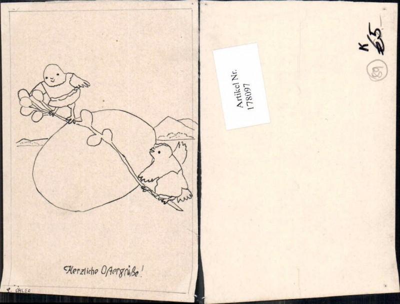 178097,Künstler AK C. Öhler Ostern Küken Ei wippen auf Ast