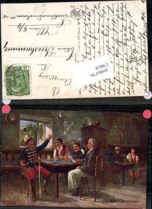 178618,Künstler AK F. Höllerer Kriegsgeschichten Pfeife Stube Husar Patriotik