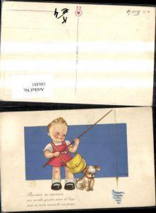 186481,Künstler Ak Tomba Kind Junge m. Hund Tasche u. Angel