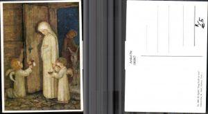 186867,Künstler AK M. Spötl Schwaz 308 Trag Gott zu uns Frau Engel Tür Esel