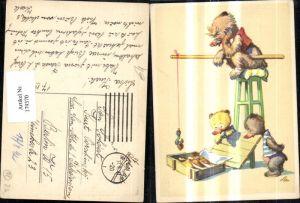 179370,Künstler Ak Bären Kinder Angeln Fischen Fische