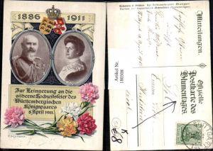 180308,Künstler AK P. Schnorr Postkarte des Blumentages silberne Hochzeit d. Königspaares Württemberg 1911