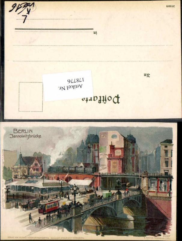 178776,Künstler Litho Heinrich Kley Berlin Janowitzbrücke pub Velten 504