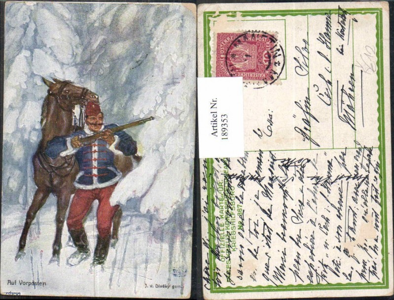 189353,Kriegsfürsorge 367 Künstler AK J.v. Diveky Vorposten Husar Soldat Pferd