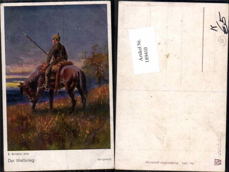 189410,Künstler AK E. Schlemo Morgenrot Pickelhaube Pferd Kavallerie
