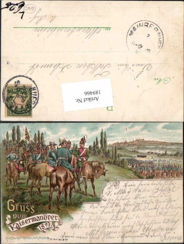 189466,Tolle Litho Gruss vom Kaisermanöver Manöver 1897 pub Karl Stücker Kavallerie