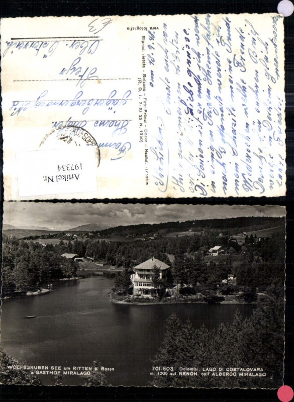 197334,Trentino Wolfsgruben See a. Ritten b. Bozen u. Gasthof Miralago Lago di Costalovara Renon