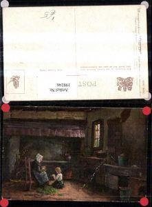 198246,Raphael Tuck 1531 Künstler A. Hevermans English Cottage Homes Innenansicht Frau m. Kind