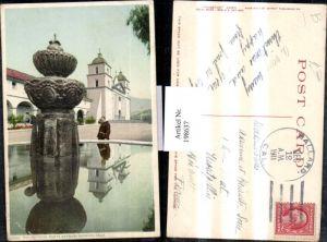 198637,California Santa Barbara Mission Reflections Brunnen Kirche