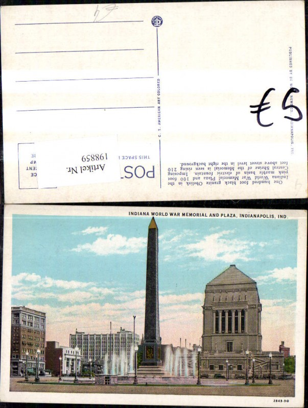 198859,Indiana Indianapolis Indiana World War Memorial and Plaza Denkmal Obelisk