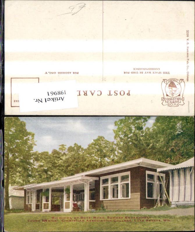 198961,Wisconsin Lake Geneva School of Boys Work Summer Encampment YMCA College Schule