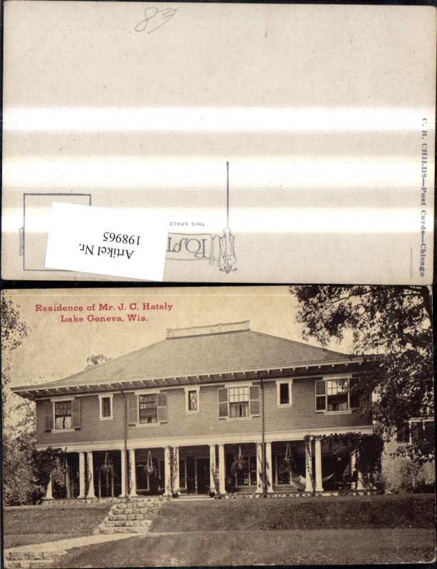 198965,Wisconsin Lake Geneve Residence of Mr. J. C. Hately