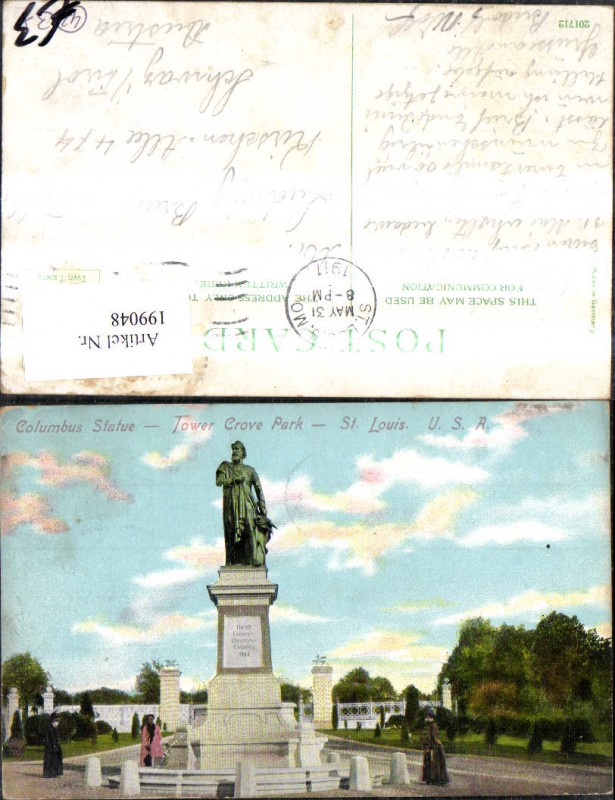 199048,Missouri St. Louis Columbus Statue Tower Crove Park
