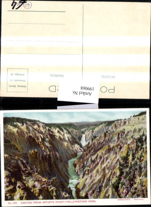 199068,Wyoming Yellowstone Park Canyon from Artists Point