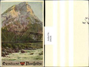 199238,Deutscher Schulverein Künstler E. F. Hofecker Gesäuse Planspitze Brücke
