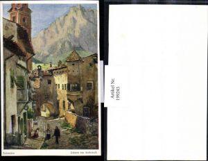 199243,Künstler AK E. F. Hofecker Dolomiten Schlern v. Kastelruth Straßenansicht