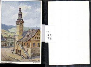 199244,Künstler AK E. F. Hofecker Mährisch Schlesien Sudeten Mähr. Altstadt Kirche