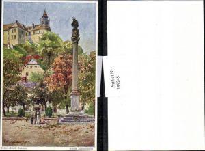 199245,Künstler AK E. F. Hofecker Mährisch Schlesien Sudeten Schloss Johannesberg Säule