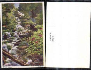 199246,Künstler AK E. F. Hofecker Mährisch Schlesien Sudeten Hoher Fall Wasserfall